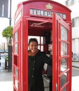 Sion Dayson in London phone booth